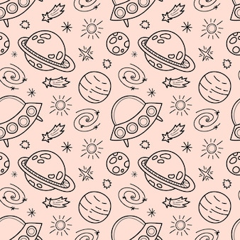Space black and white doodle seamless pattern - hand drawn, space, stars, planet, spaceship and ufo, wrapping paper