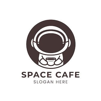 Логотип космического кафе с милым космонавтом