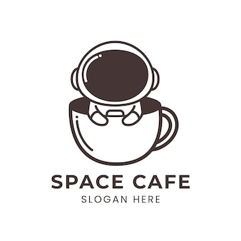 Space cafe logo with cute astronaut