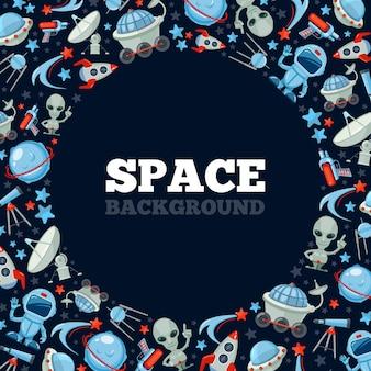 Space cartoon background. spaceship rocket astronaut ufo