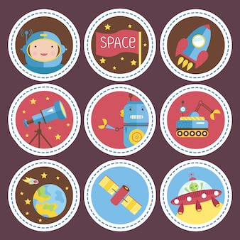 Space cartoon  icons collection