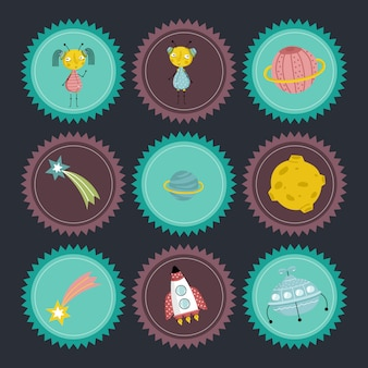 Space cartoon vector badges collection