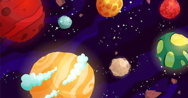 Space cartoon vector illustration with different planets. galaxy, cosmos, universe element for computer game, book for kids.