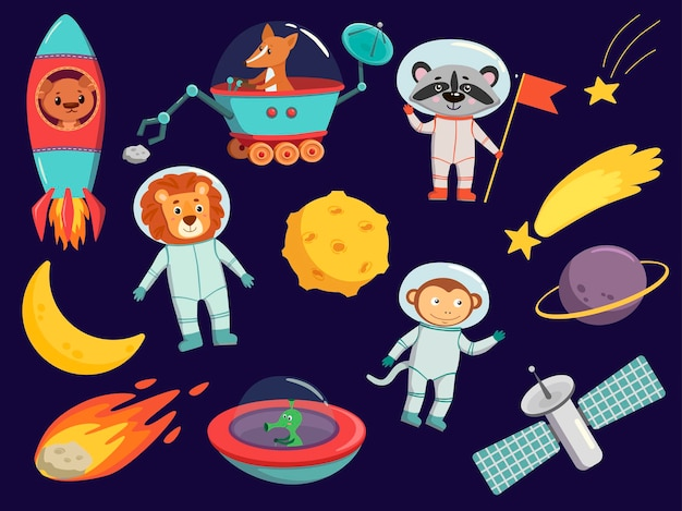 Space cartoon vector illustrations set of animal astronauts, ufo, planets clipart in purple painted background. cosmic collection.