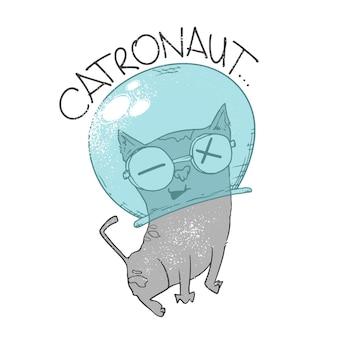宇宙猫の宇宙飛行士。 catronautプリント、tシャツデザイン。
