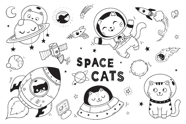 Space cat doodle for kids