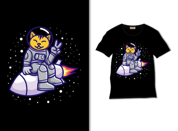 Space cat on a rocket illustration with tshirt design