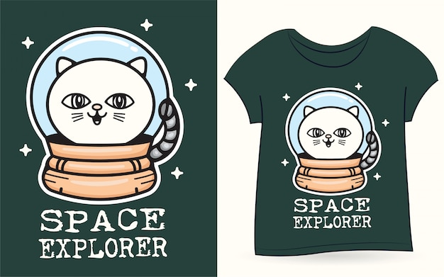 Space cat for t shirt