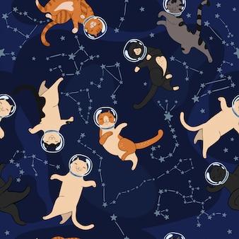 宇宙猫と星座のシームレスパターン。グラフィック。
