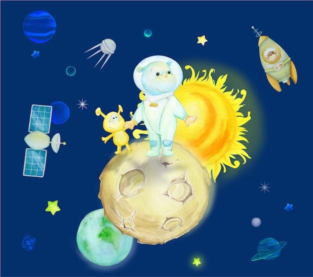Космические персонажи в мультяшном стиле. акварельные иллюстрации