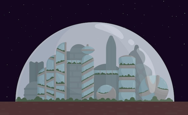 Space city, colony on mars or moon