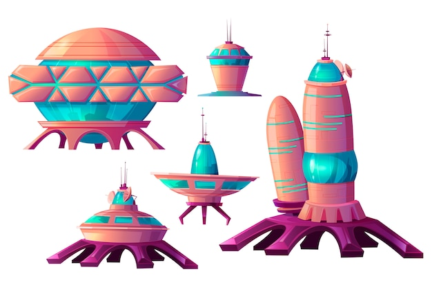 Space colonization, alien spaceships cartoon