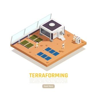 태양 전지 및 생활 모듈이있는 사람과 정원 침대가있는 공간 식민지 아이소 메트릭 배너