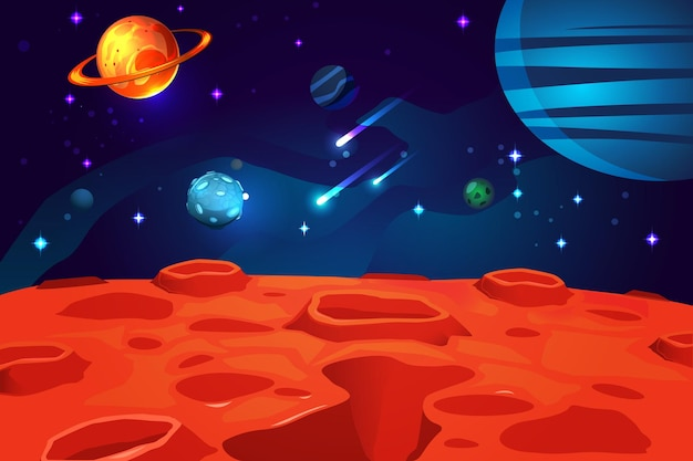 赤い惑星の表面の夜空の輝く星と小惑星と宇宙カラフルな漫画ゲーム