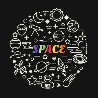 Space colorful gradient with line icons set