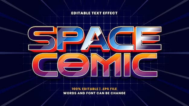Space comic editable text effect in modern 3d style