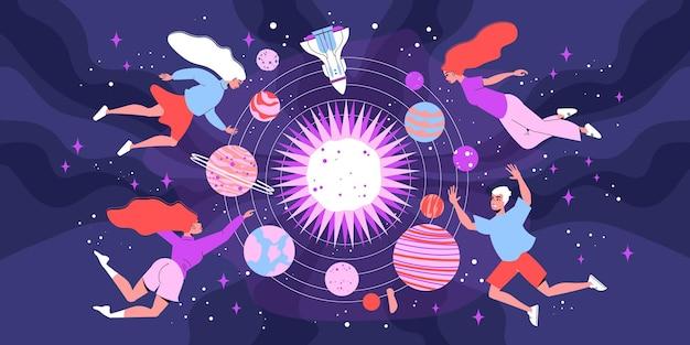 젊은 사람들의 낙서 캐릭터가 떠 있는 우주 우주 구성