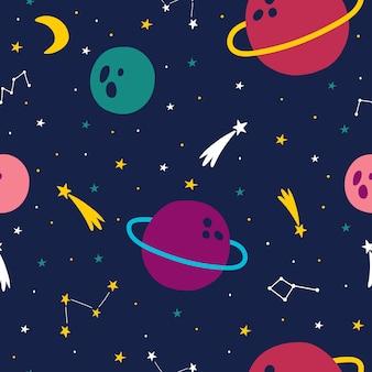 Космический космос бесшовные модели с звездами, ракетами, кометами, луной