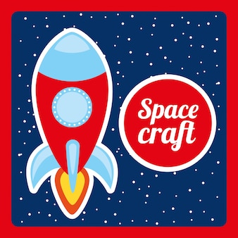 Space craft  design over night background vector illustration