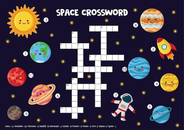 Space crossword puzzle for kids. cute smiling planets of solar system. educational game for children. Premium Vector