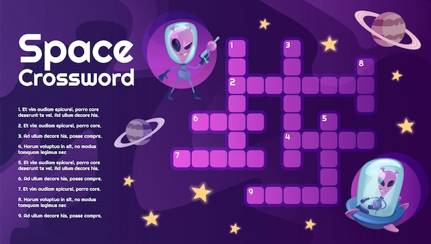 Space crossword with cartoon alien