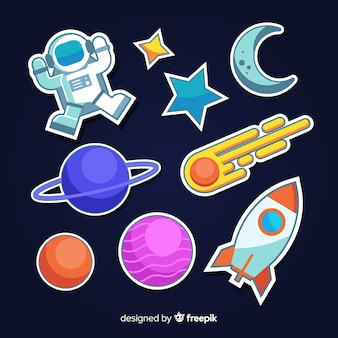 Space cute minimalist sticker collection