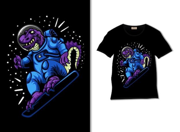 Космический динозавр играет иллюстрацию с дизайном футболки
