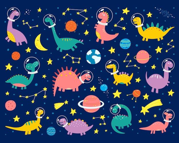 우주복을 입은 우주 공룡이 우주로 날아갑니다.