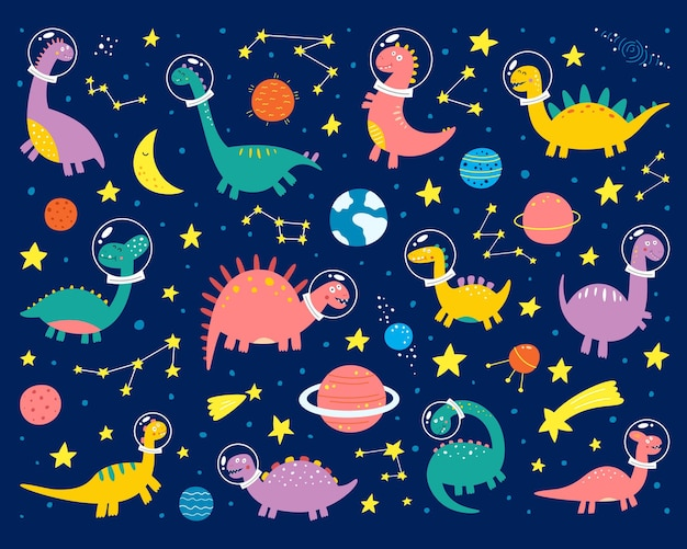 Space dinosaurs in a spacesuit are flying into space.