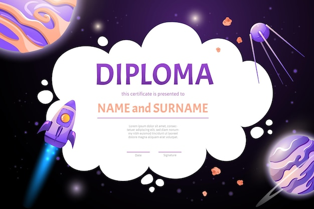 Space diploma certificate with rockets and planets for school and preschool kids. cartoon flat illustration in game style