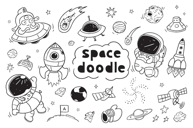 Space doodle clipart for kids