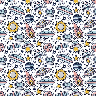 Space doodle element seamless pattern