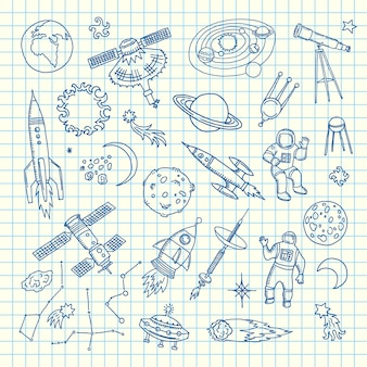 Space doodle elements. vector hand drawn space shuttle elements