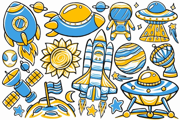 Space doodle in hand drawn design style