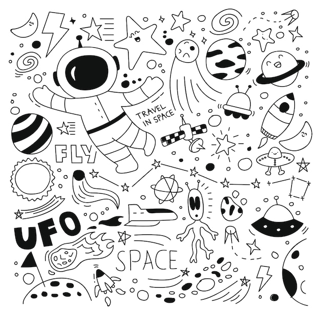 Space doodle set vector illustration