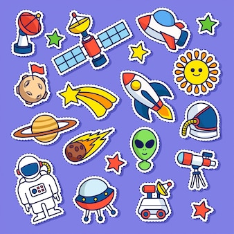 Space doodle sticker patch
