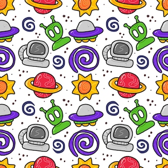 Space in doodle style seamless pattern on blue background.