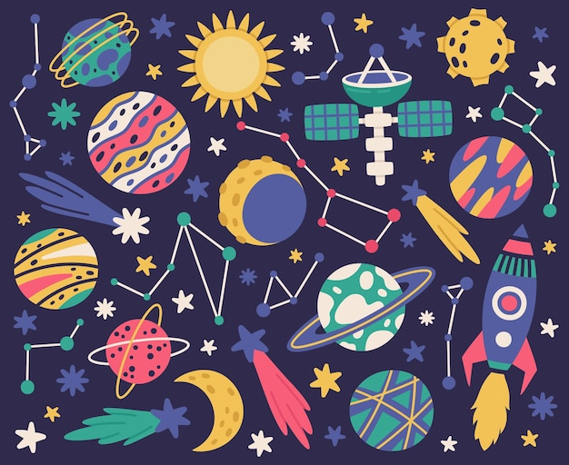 Space doodle symbols space bodies spaceship planets and stars hand drawn vector illustration