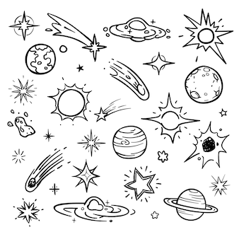 Space doodle vector elements. hand drawn stars, comets, planets and moon in sky. astronomy and planet, space and science illustration