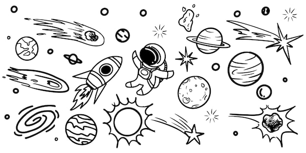 Space doodle vector elements hand drawn stars comets planets and moon in sky isolated