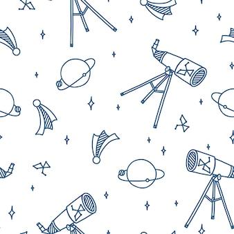 망원경 행성 달 별과 혜성 우주 공간 원활한 패턴으로 공간 낙서
