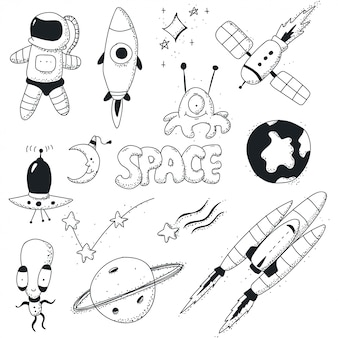 Space doodles icon set.