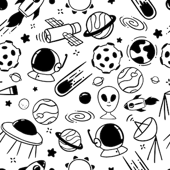 Space doodles seamless pattern
