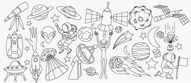 Space doodles set astronomy cosmic sketches