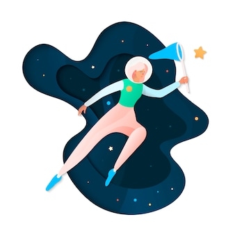 Space dreaming illustration. futuristic illustration with young cosmonaut catch stars in space.