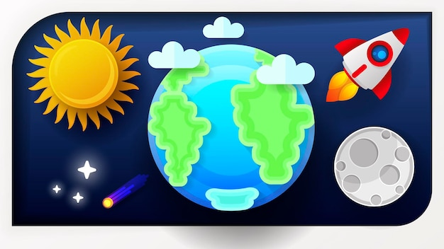 Space earth moon and sun vector illustration for your needs