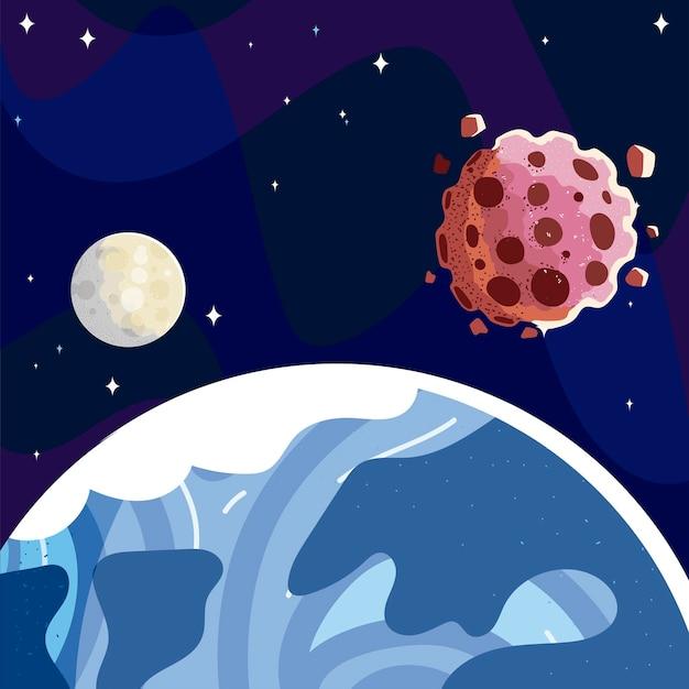 Космос земля, планета, луна и астероиды, звездное небо, иллюстрация