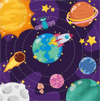 우주 지구 행성 달 태양 위성 우주선과 혜성 만화 일러스트 레이션