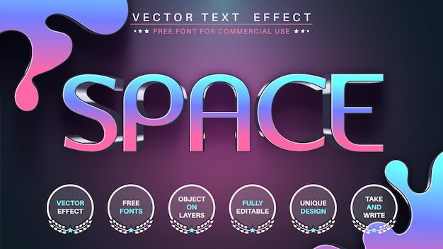 Space editable text effect font style