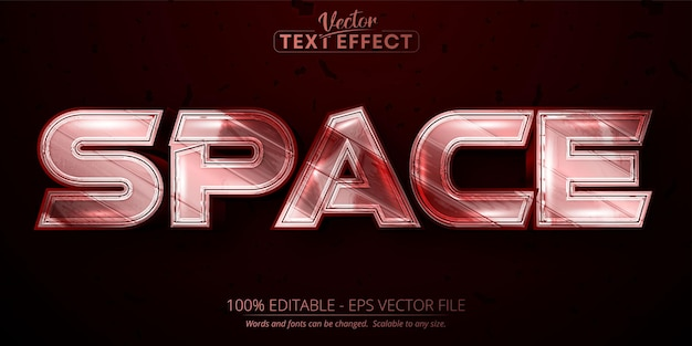 Space editable text effect shiny metallic red color and silver font style